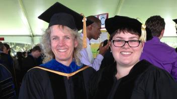 Dr. Alison Van Eenennaam and Kristina Weber at Kristina's Ph.D. graduation, 2013