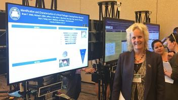 Dr. Van Eenennaam presenting a poster on epizootic bovine abortion at the 2016 International Society of Animal Genetics meeting.