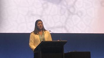 Graduate student Maci Mueller presenting her research at the 2017 World Congress on Genetics Applied to Livestock Reproduction in Auckland, New Zealand.