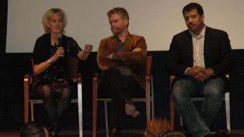 Dr. Van Eenennaam speaking on a panel with Food Evolution movie director Scott Hamilton Kennedy and narrator Neil deGrasse Tyson.