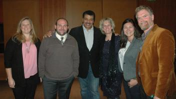 Lab members with Neil deGrasse Tyson and Food Evolution movie director Scott Hamilton Kennedy.
